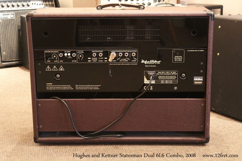 Hughes and Kettner Statesman Dual 6L6 Combo, 2008 Full Rear View