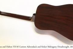 Huss and Dalton TD-M Custom Adirondack and Sinker Mahogany Dreadnought, 2014   Full Rear View