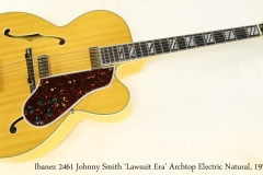 Ibanez 2461 Johnny Smith 'Lawsuit Era' Archtop Electric Natural, 1975 Full Front View