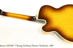 Ibanez AAF207 7-String Archtop Electric Sunburst, 1997   Full Rear View