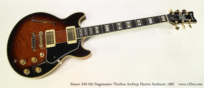 Ibanez AM-205 Stagemaster Thinline Archtop Electric Sunburst, 1982  Full Front View