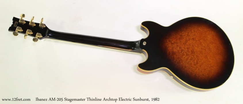 Ibanez AM-205 Stagemaster Thinline Archtop Electric Sunburst, 1982  Full Rear View