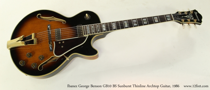 Ibanez George Benson GB10 BS Sunburst Thinline Archtop Guitar, 1986 Full Front View