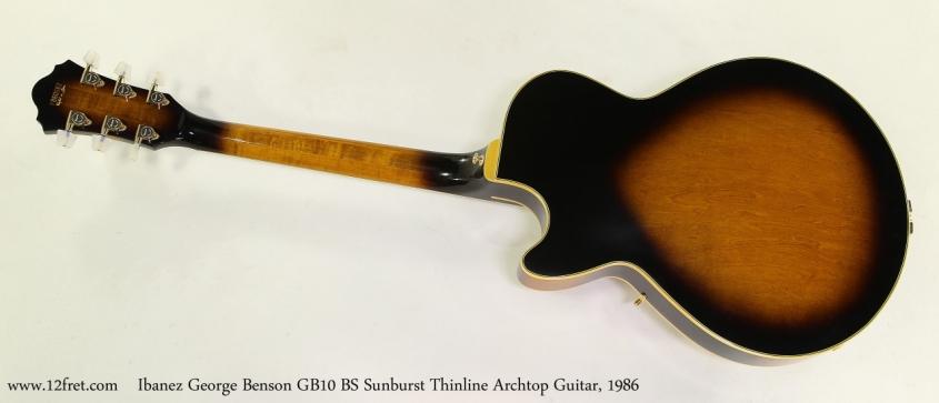 Ibanez George Benson GB10 BS Sunburst Thinline Archtop Guitar, 1986 Full Rear View