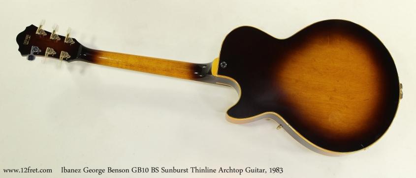 Ibanez George Benson GB10 BS Sunburst Thinline Archtop Guitar, 1983 Full Rear View