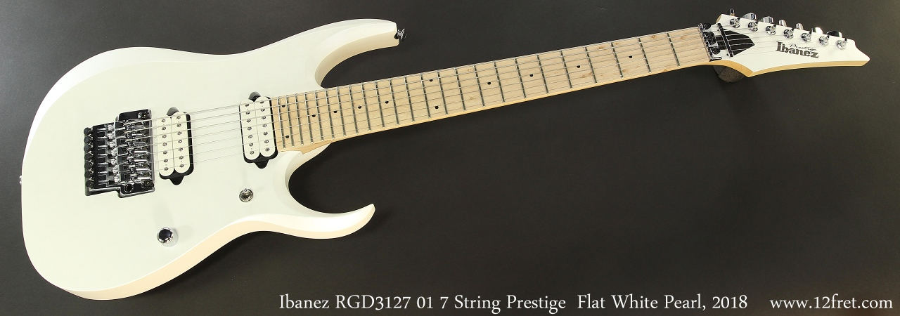 Ibanez RGD3127 01 7 String Prestige  Flat White Pearl, 2018 Full Front View