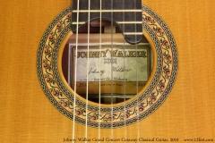 Johnny Walker Grand Concert Cutaway Classical Guitar, 2010 Label View