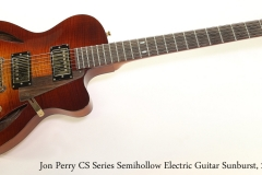 Jon Perry CS Series Semihollow Electric Guitar Sunburst, 2014   Full Rear View