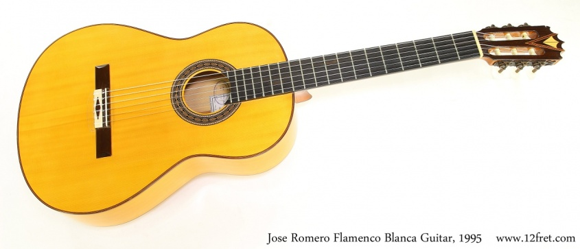 Jose Romero Flamenco Blanca Guitar, 1995  Full Front VIew