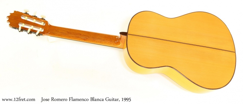 Jose Romero Flamenco Blanca Guitar, 1995  Full Rear View