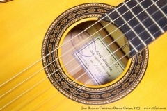 Jose Romero Flamenco Blanca Guitar, 1995 Rosette and Label View
