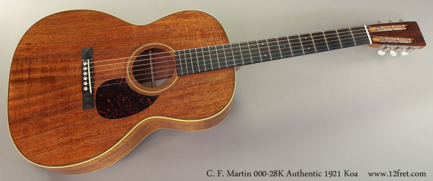 C. F. Martin 000-28K Authentic 1921 Koa Guitar Full Front View