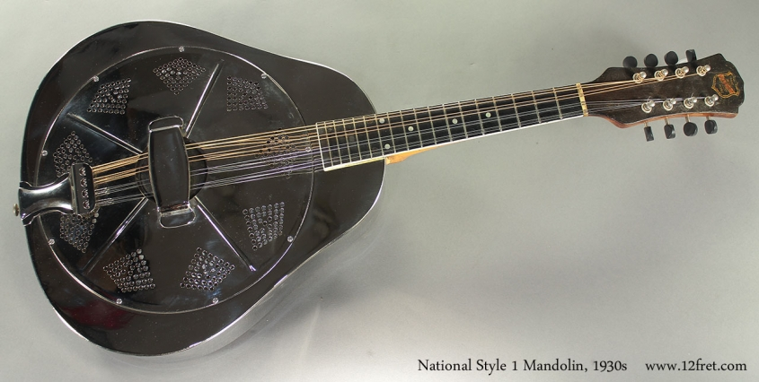 National Style 1 Mandolin, 1930s full front view