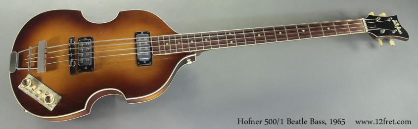Hofner 500/1 Beatle Bass, 1965 full front view