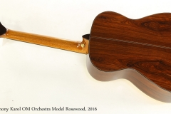 Anthony Karol OM Orchestra Model Rosewood, 2016  Full Rear View