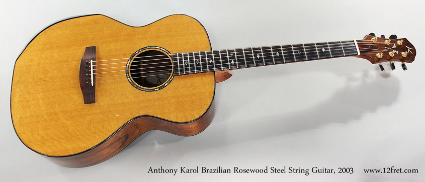 Anthony Karol Brazilian Rosewood Steel String Guitar, 2003 Full Front View