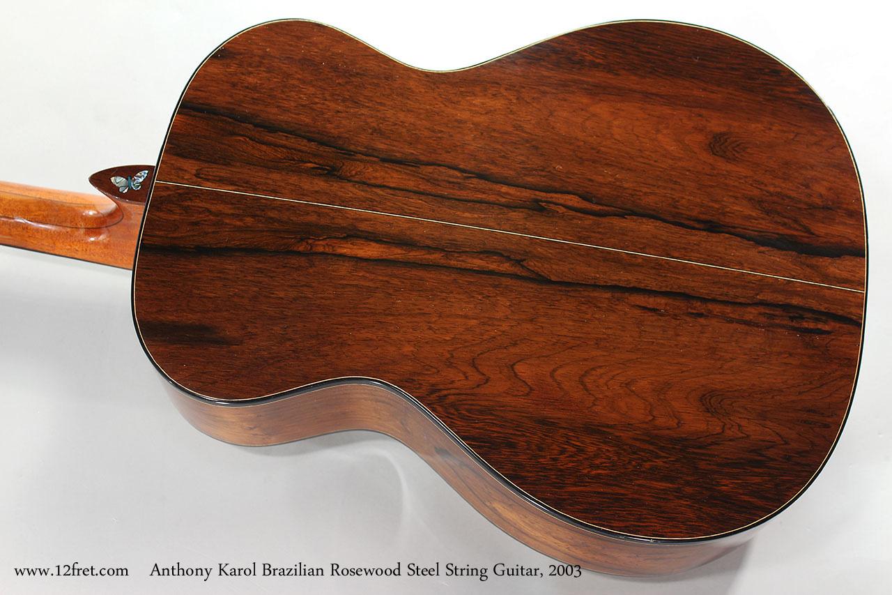 Anthony Karol Brazilian Rosewood Steel String Guitar, 2003 Back View