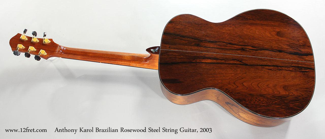 Anthony Karol Brazilian Rosewood Steel String Guitar, 2003 Full Rear View