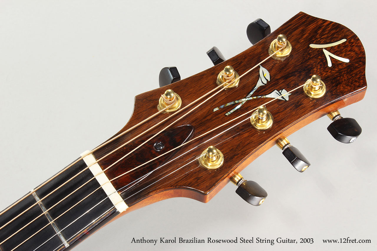 Anthony Karol Brazilian Rosewood Steel String Guitar, 2003 Head Front View