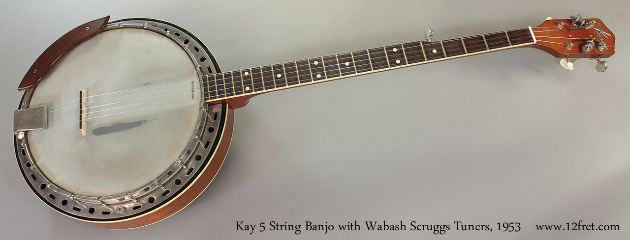 Kay 5 String Banjo with Wabash Scruggs Tuners, 1953 Full Front View