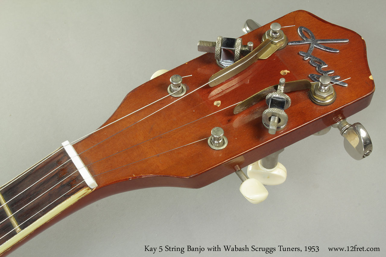 Kay 5 String Banjo with Wabash Scruggs Tuners, 1953 Head Front