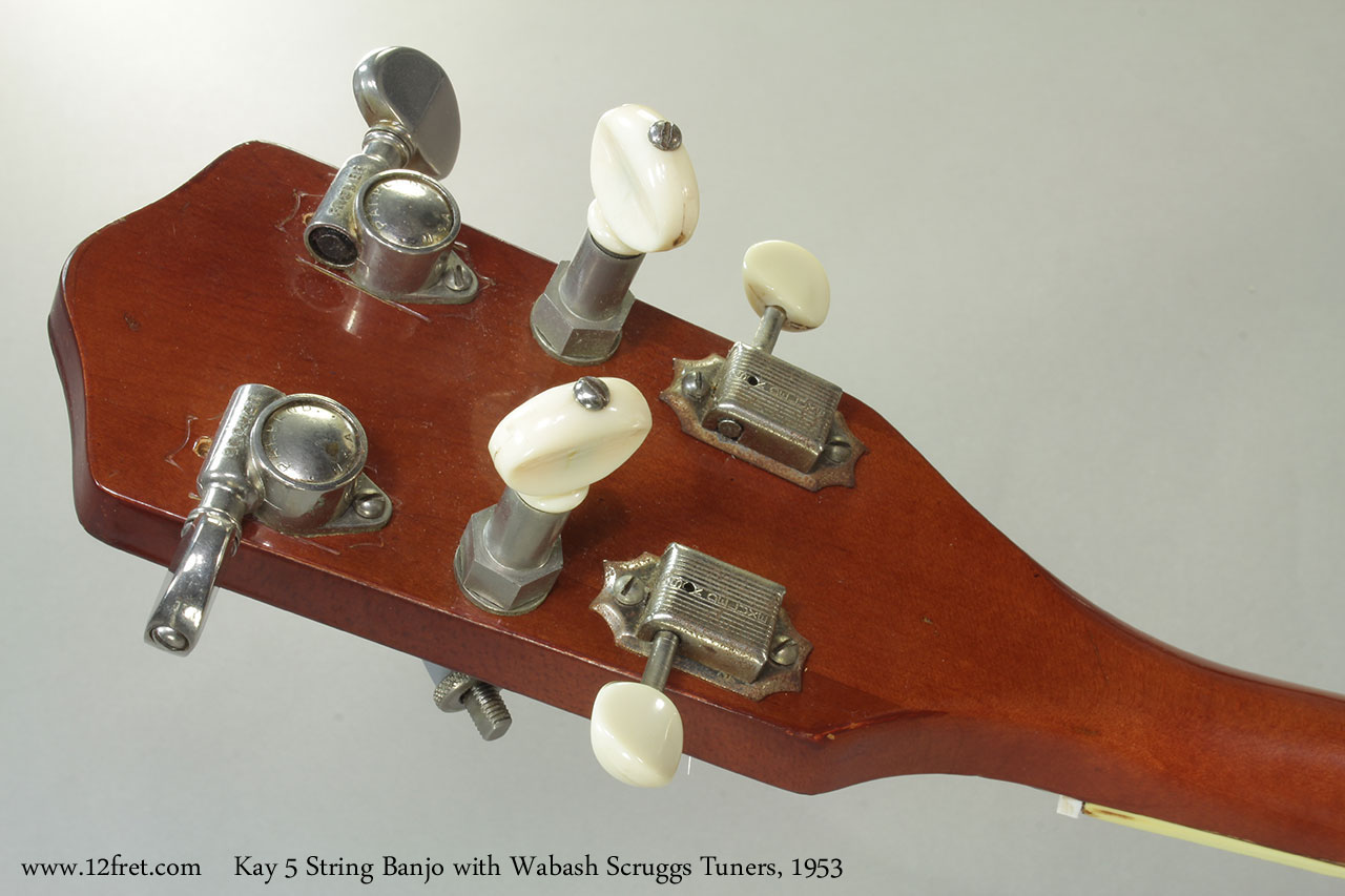 Kay 5 String Banjo with Wabash Scruggs Tuners, 1953 Head Rear
