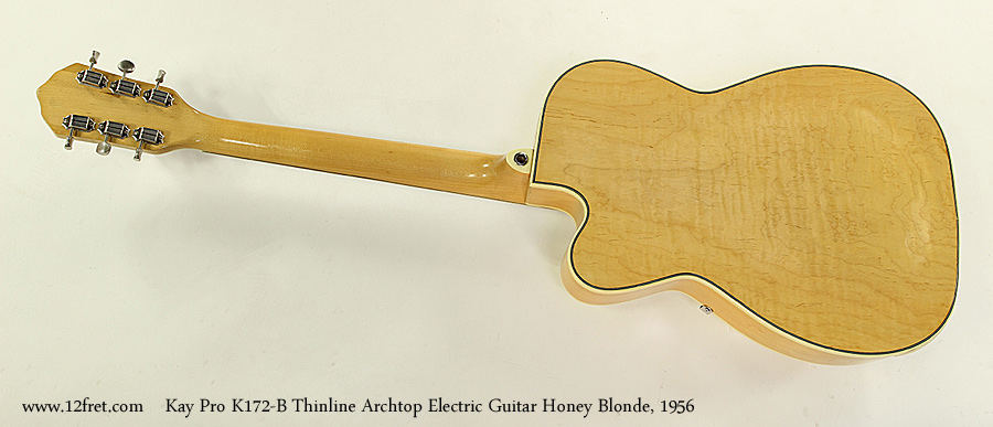 Kay Pro K172-B Thinline Archtop Electric Guitar Honey Blonde, 1956 Full Rear View