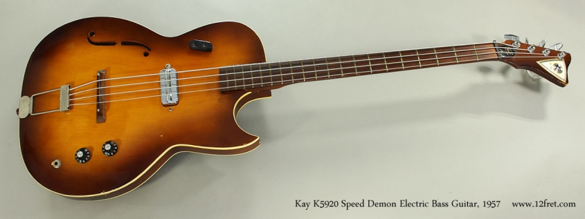 Kay K5920 Speed Demon Electric Bass Guitar, 1957 Full Front View