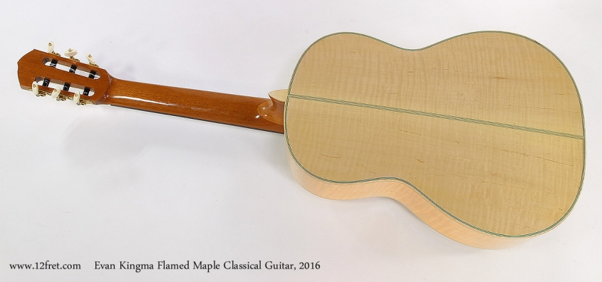 Evan Kingma Flamed Maple Classical Guitar, 2016 Full Rear View