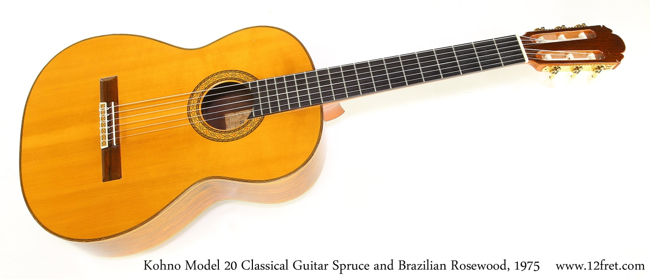 Kohno Model 20 Classical Guitar Spruce and Brazilian Rosewood, 1975   Full Front View