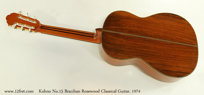 Kohno No.15 Brazilian Rosewood Classical Guitar, 1974 Full Rear View