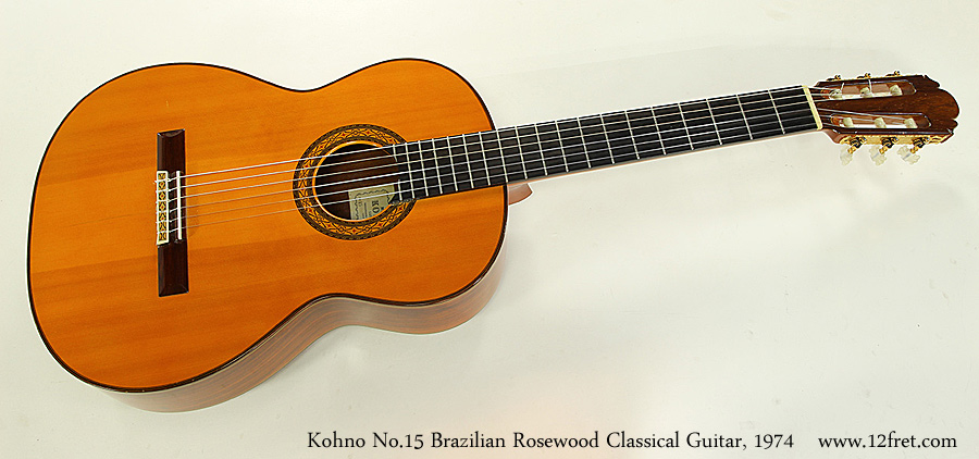 Kohno No.15 Brazilian Rosewood Classical Guitar, 1974 Full Front View