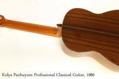 Kolya Panhuyzen Professional Classical Guitar, 1980   Full Rear View