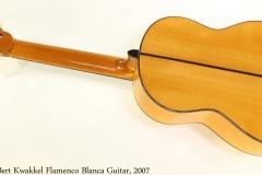 Bert Kwakkel Flamenco Blanca Guitar, 2007 Full Rear View