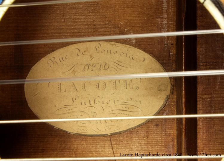 Rene Lacote Heptachorde circa 1840 label