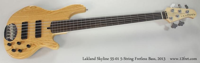 Lakland Skyline 55-01 5-String Fretless Bass, 2013 Full Front View