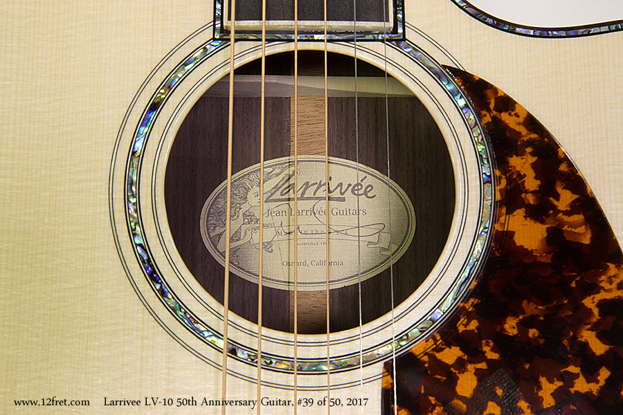 Larrivee LV-10 50th Anniversary Guitar, #39 of 50, 2017  Label View