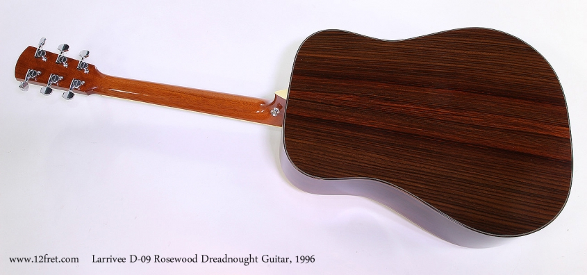Larrivee D-09 Rosewood Dreadnought Guitar, 1996 Full Rear View