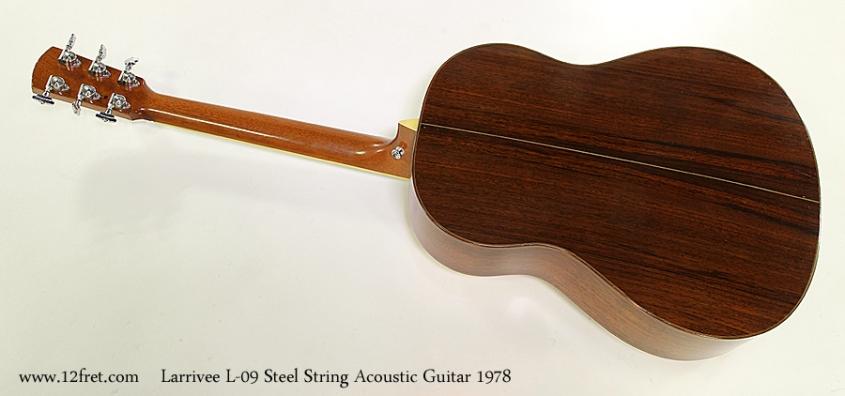 Larrivee L-09 Steel String Acoustic Guitar 1978 Full Rear View