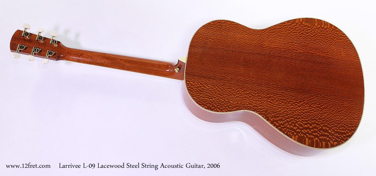 Larrivee L-09 Lacewood Steel String Acoustic Guitar, 2006 Full Rear View