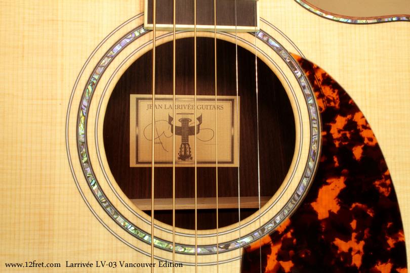 Larrivee LV-03 Vancouver Edition label