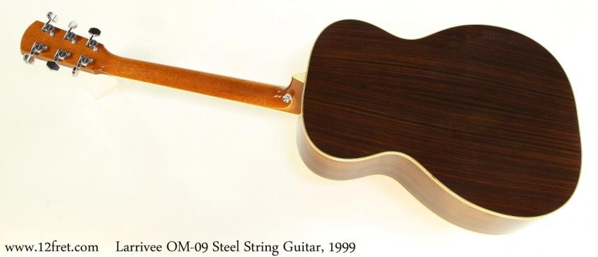 Larrivee OM-09 Steel String Guitar, 1999 Full Rear View