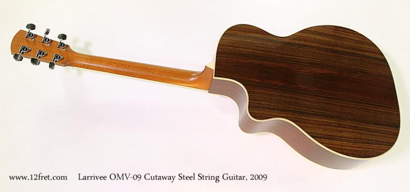 Larrivee OMV-09 Cutaway Steel String Guitar, 2009 Full Rear View