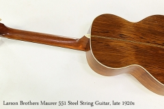 Larson Brothers Maurer 551 Steel String Guitar, late 1920s  Full Rear VIew