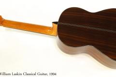 William Laskin Classical Guitar, 1994   Full Rear View