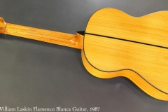 William Laskin Flamenco Blanca Guitar, 1987 Full Rear View