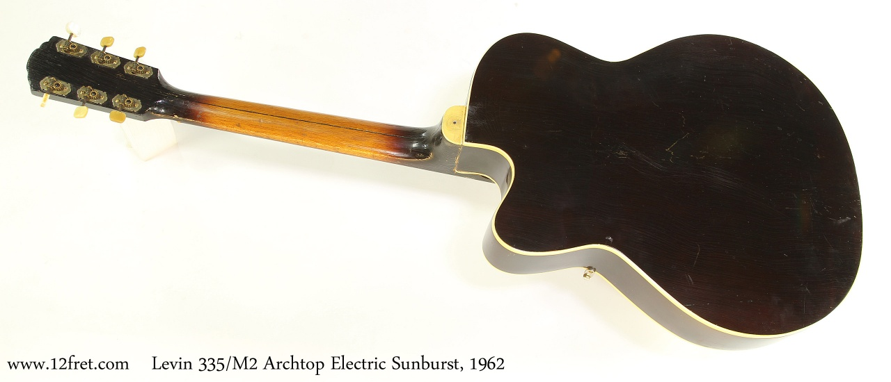 Levin 335/M2 Archtop Electric Sunburst, 1962 Full Rear View