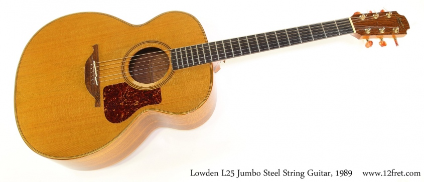 Lowden L25 Jumbo Steel String Guitar, 1989 Full Front View
