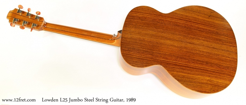 Lowden L25 Jumbo Steel String Guitar, 1989 Full Rear View
