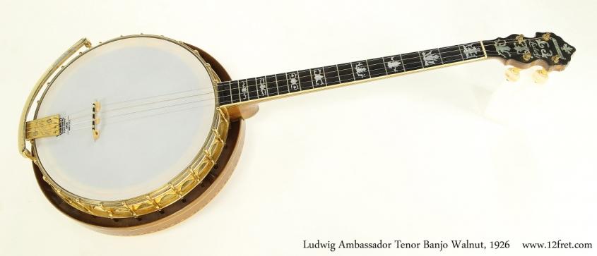 Ludwig Ambassador Tenor Banjo Walnut, 1926 Full Front View